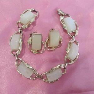 Vtg CORO Moonglow Thermoset Bracelet Earring Set